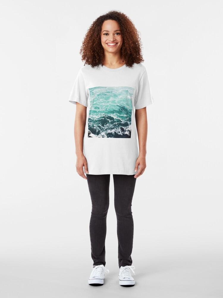 Alternate view of Blue Ocean Summer Beach Waves Slim Fit T-Shirt
