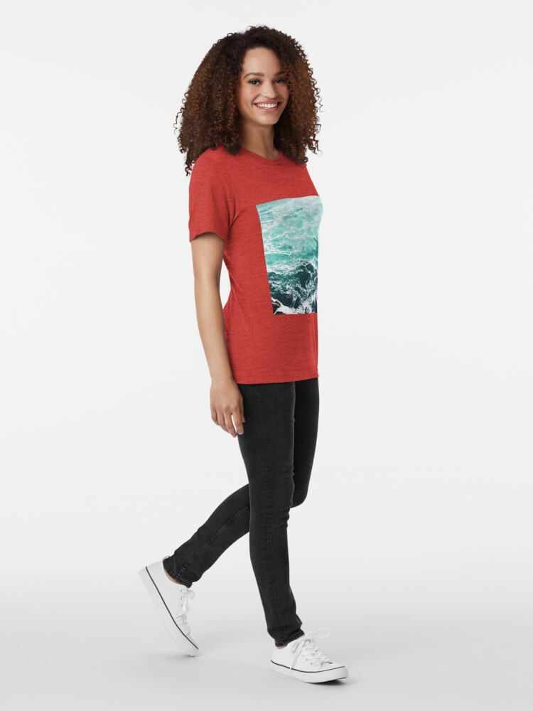 Alternate view of Blue Ocean Summer Beach Waves Tri-blend T-Shirt
