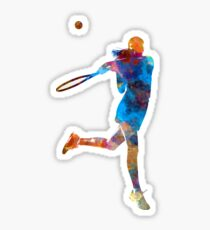 Woman tennis player 03 in watercolor Sticker