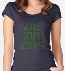 Pronouns - ZIE / ZIR / ZIRS - LGBTQ Trans pronouns tees Fitted Scoop T-Shirt