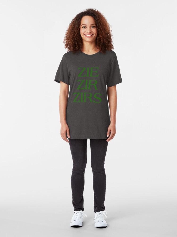 Alternate view of Pronouns - ZIE / ZIR / ZIRS - LGBTQ Trans pronouns tees Slim Fit T-Shirt
