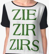 Pronouns - ZIE / ZIR / ZIRS - LGBTQ Trans pronouns tees Chiffon Top