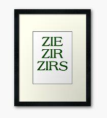 Pronouns - ZIE / ZIR / ZIRS - LGBTQ Trans pronouns tees Framed Print