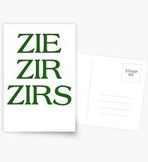 Pronouns - ZIE / ZIR / ZIRS - LGBTQ Trans pronouns tees Postcards