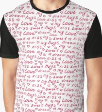 Love lettering seamless red pattern, hand drawn calligraphy wallpaper. Graphic T-Shirt