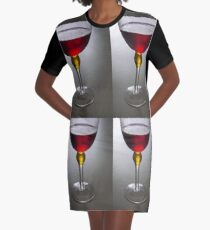 Wine glass art Graphic T-Shirt Dress