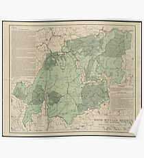 Vintage White Mountains New Hampshire Map (1915) Poster