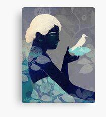Bird on a plate Canvas Print