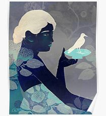 Bird on a plate Poster