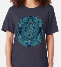 Black, Teal & Aqua Protea Doodle Pattern Slim Fit T-Shirt