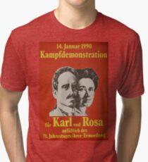 Karl Liebknecht and Rosa Luxemburg, Communist Propaganda Poster  Tri-blend T-Shirt