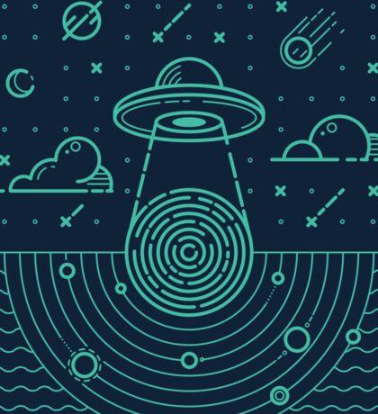 Ufo in dark night.  Sticker