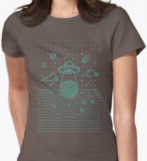 Ufo in dark night.  Womens Fitted T-Shirt