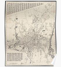 Vintage Map of Worcester Massachusetts (1919) Poster