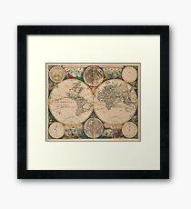 Vintage Map of The World (1672) 2 Framed Print