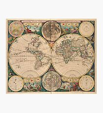 Vintage Map of The World (1672) 2 Photographic Print