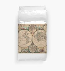 Vintage Map of The World (1672) 2 Duvet Cover