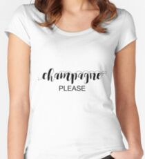 Champagne Please Typography In Black Women's Fitted Scoop T-Shirt