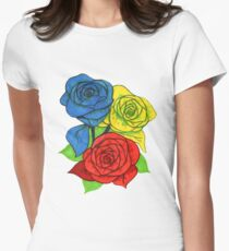 Red, Blue, and Yellow Roses T-Shirt