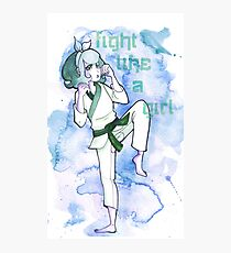 Women in Martial Arts Blue Photographic Print