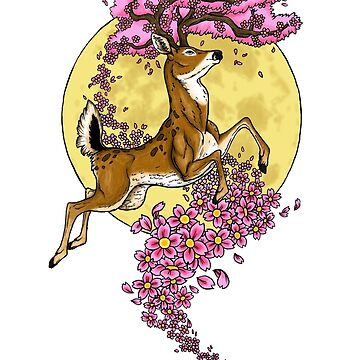 Cherry Blossom Stag in the Moonlight by SuperDeano