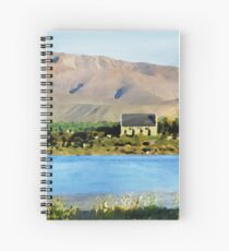 Lake Tekapo and Church of the Good Shepherd (New Zealand) in Watercolor Spiral Notebook