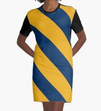 Morgantown West Virginia Gold & Navy Team Color Stripes Graphic T-Shirt Dress