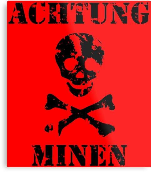 Vintage Style Achtung Minen Sign Achtung Minen Retro Style Sign Mine Field sign