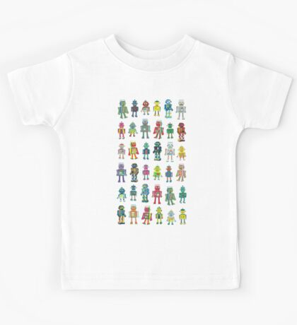 Robot Line-up on White - fun pattern by Cecca Designs Kids Clothes