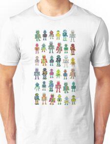 Robot Line-up on White Unisex T-Shirt