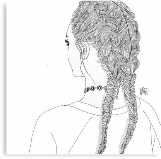 outline girl 2 braids tumblr transparent metal prints by madebydidi