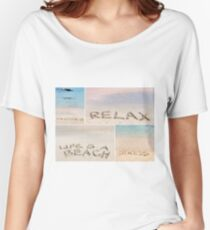 Collage of relaxation messages written on sand Women's Relaxed Fit T-Shirt