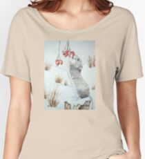Cute mouse and red berries snow scene wildlife art   Women's Relaxed Fit T-Shirt