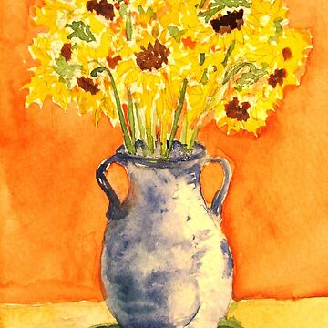 sunflowers in blue vase by tcwagerdesigns