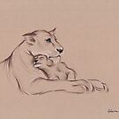 """Guardian"" - Lioness and Cub prisma pencil drawing by Rebecca Rees"
