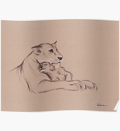 """""""Guardian"""" - Lioness and Cub prisma pencil drawing Poster"""