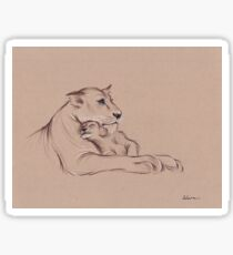 """""""Guardian"""" - Lioness and Cub prisma pencil drawing Sticker"""