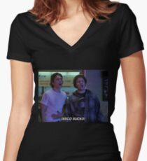 james franco and seth rogen 'freaks and geeks' t shirt Women's Fitted V-Neck T-Shirt