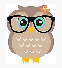 Cute Hipster Girl Owl Photographic Print