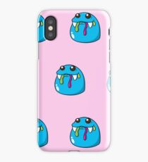 Cute, blue,cartoon, small monsters, pattern,on pink background iPhone Case/Skin
