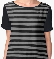 Tombstone Grey and Black Horizontal Witch Stripes Chiffon Top