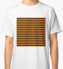 Pumpkin Orange and Black Horizontal Witch Stripes Classic T-Shirt