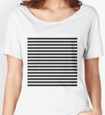 Ghost White and Black Horizontal Witch Stripes Women's Relaxed Fit T-Shirt
