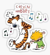 Calvin and Hobbes Dancing Sticker