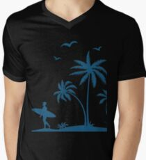 Beautiful Surfer Boy on the beach at sunset Mens V-Neck T-Shirt