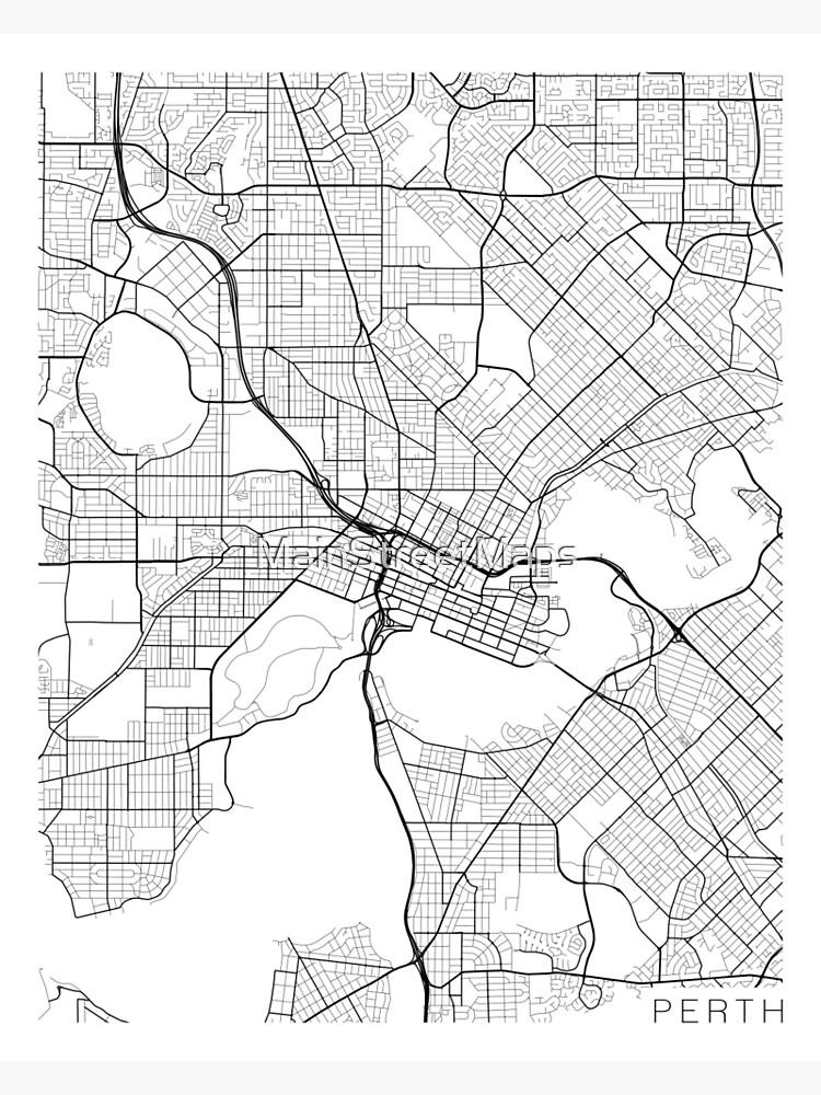 Australia Map Black And White.Perth Map Australia Black And White Photographic Print