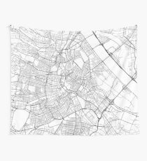 Vienna Map, Austria - Black and White Wall Tapestry