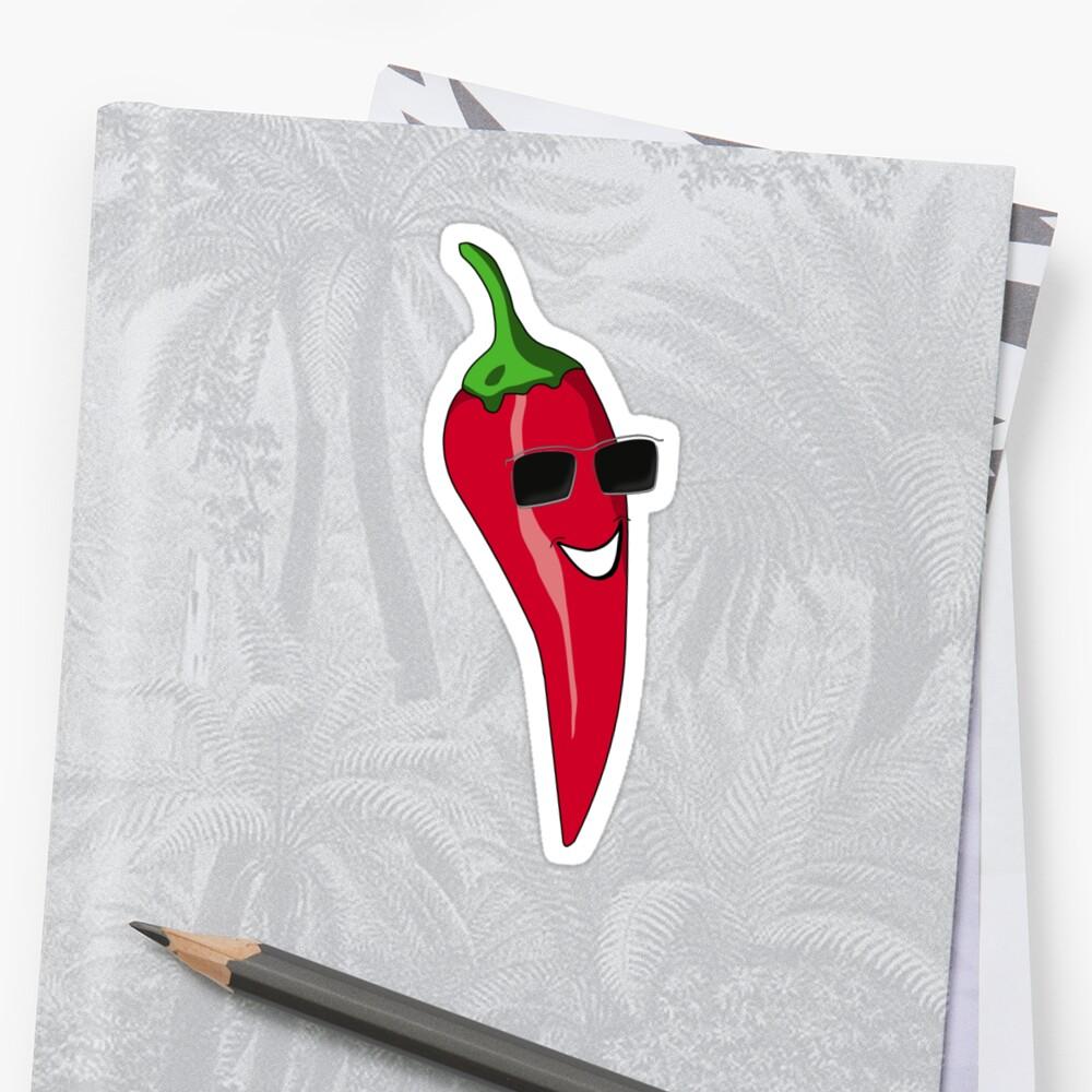 Funny Cartoon Chili Dude Sticker by deanworld
