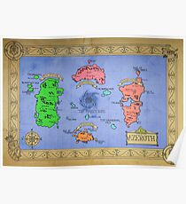 Azeroth map - Colored hand drawn Poster