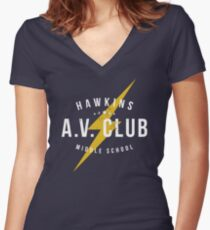 Hawkins A.V. Club (aged look) Women's Fitted V-Neck T-Shirt
